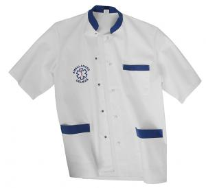 BLOUSE MIXTE BLANC/BLEU AMBULANCIER vêtements ambulanciers