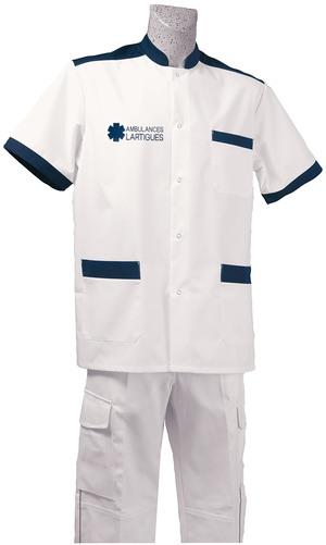 BLOUSE BLANC/MARINE M. COURTES AMBULANCIER vêtements ambulanciers