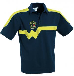 Le polo duo XW7 bleu marine et jaune pour ambulancier est une exclusivité webmedical.